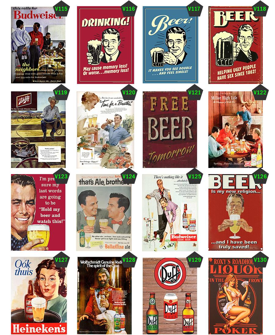 Placas decorativas Vintage Bar Bebidas