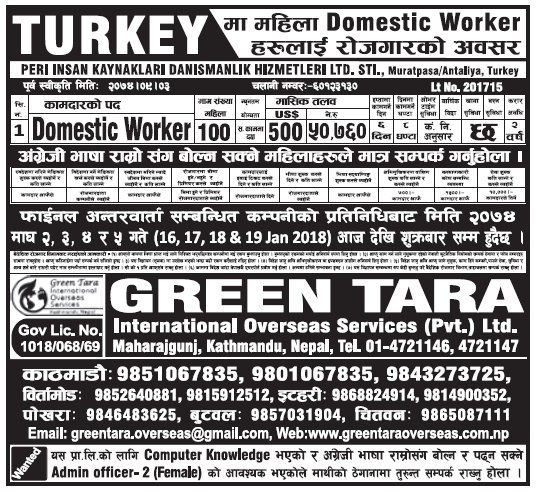 Jobs in Turkey for Nepali, salary Rs 50,760