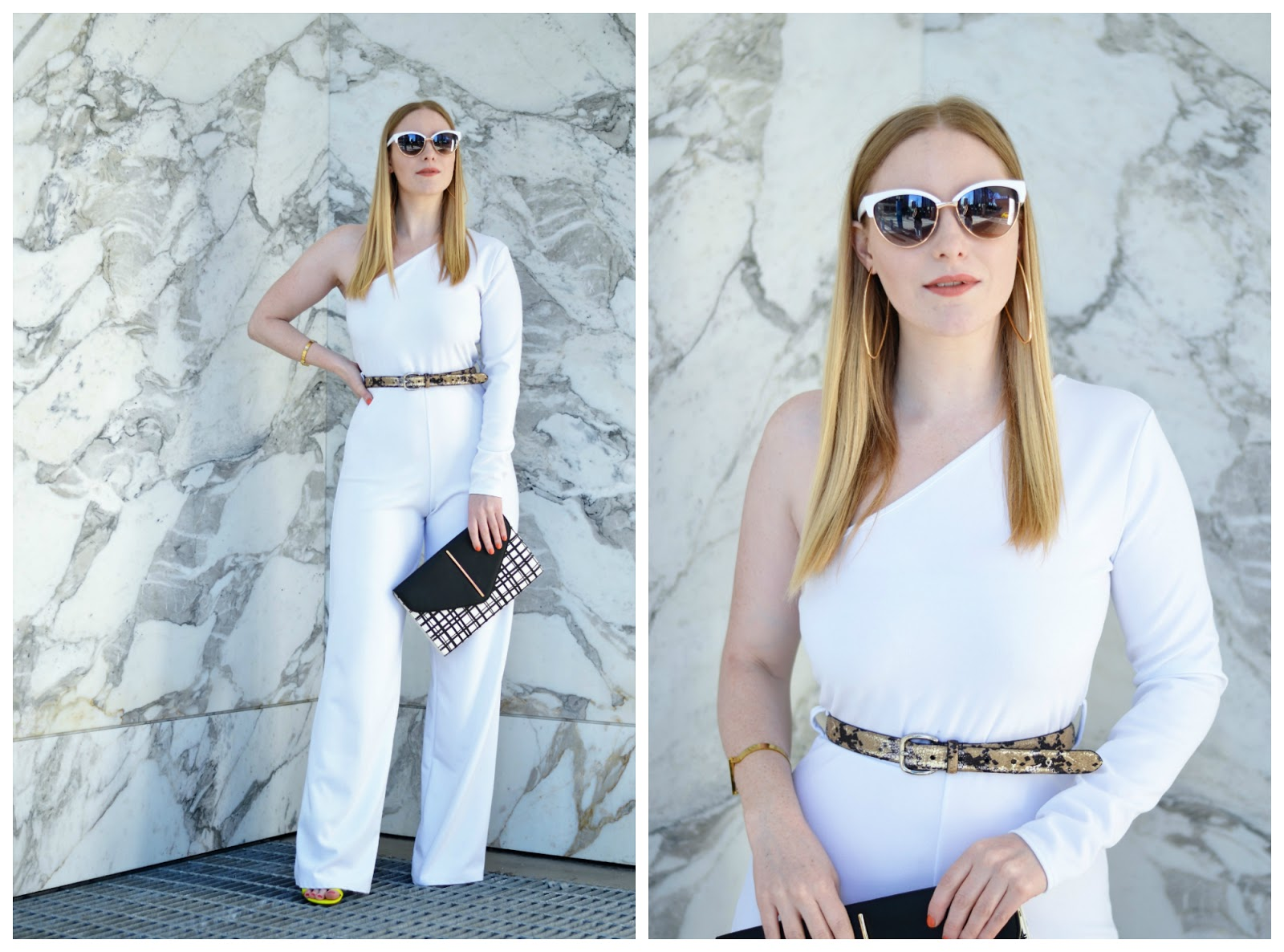 White Belted One Shoulder Jumpsuit