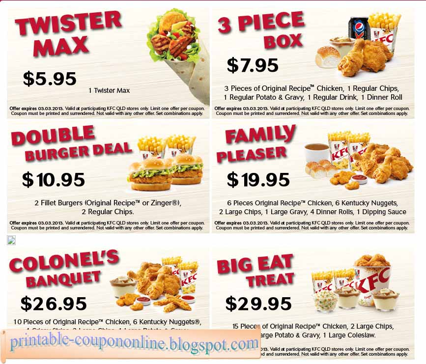 Discount coupons kfc australia