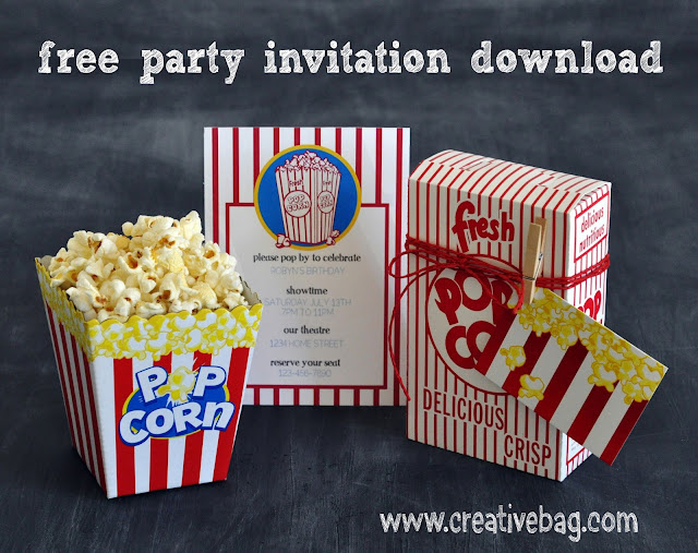 free popcorn themed party invitation download by Lorrie Everitt for Creative Bag's Blog