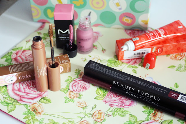 YesStyle, Korean Beauty Box, berrisom, oops, my lip tint, tatoo, tatoo tint, eyeliner, autopencil, beauty people, burgund, etude house, mascara, eyebrown, light brown, macqueen, tint, pink, light, cushion