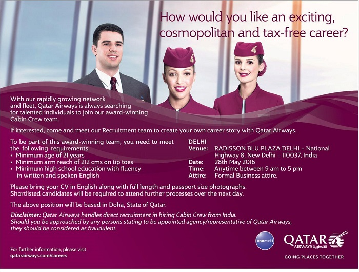 Qatar Airways recruitment for cabin crew May 2016