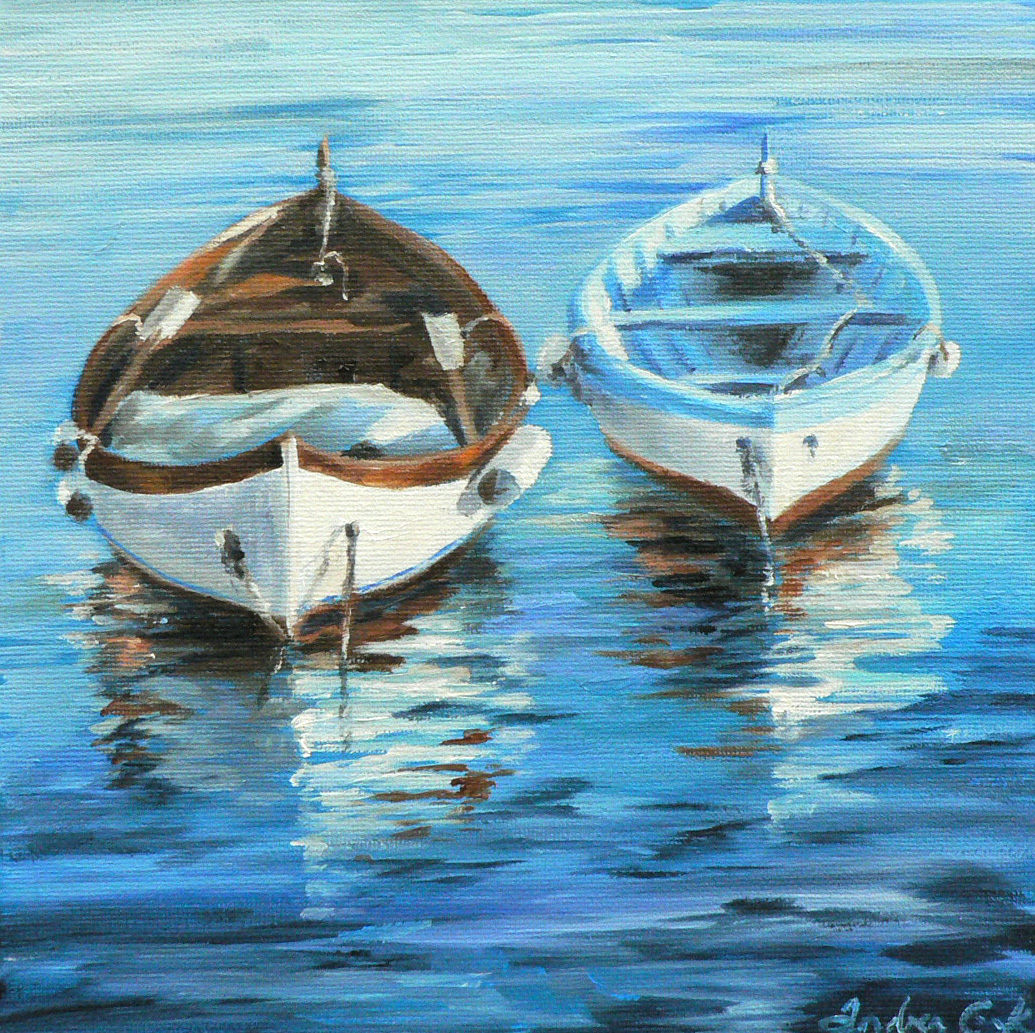 Art Studio Atelier28: Rowboats In The Water: New Oil Painting