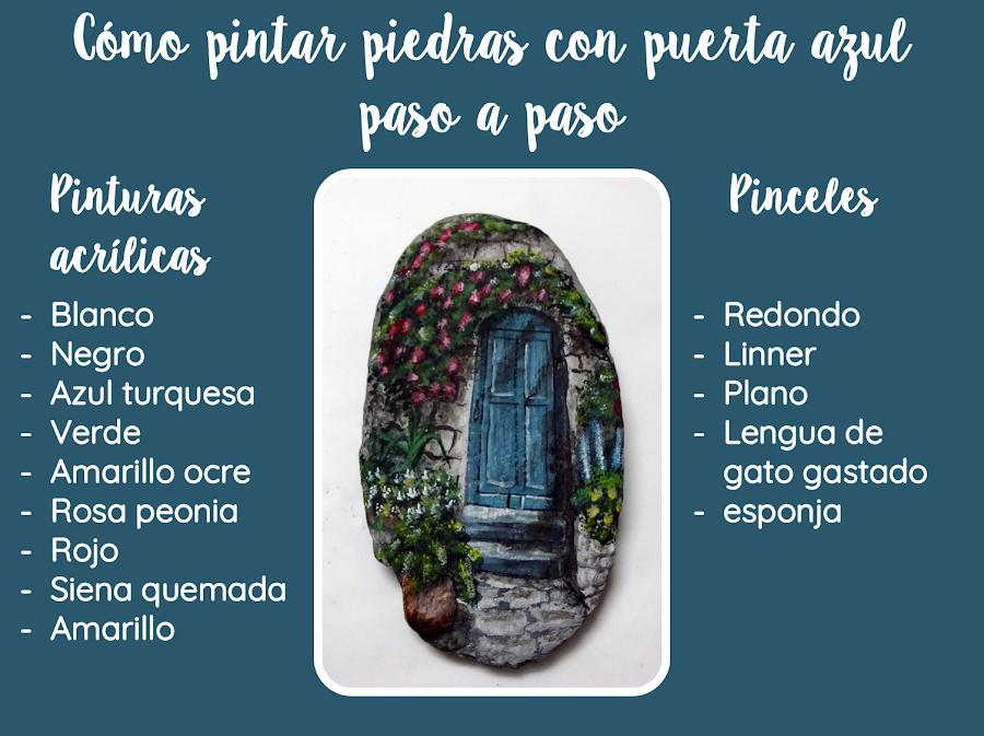 COMO PINTAR PIEDRAS CON PUERTA AZUL PASO A PASO