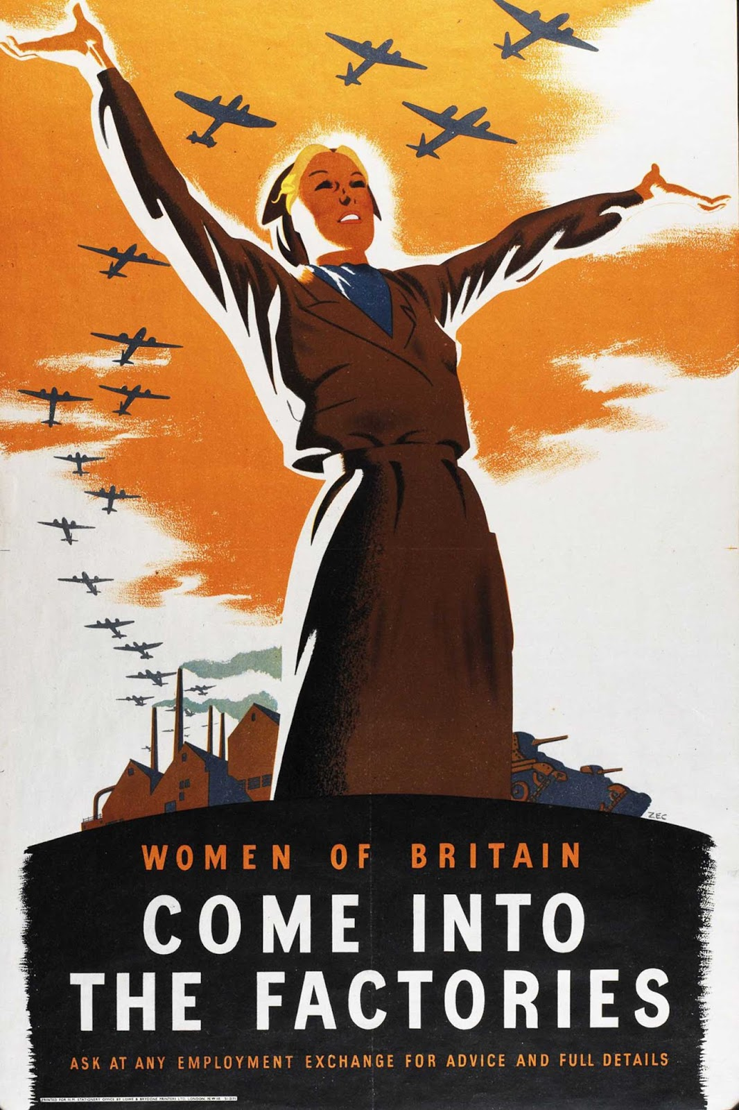 A British propaganda poster urges women to take up manufacturing jobs to help the war effort. 1941.
