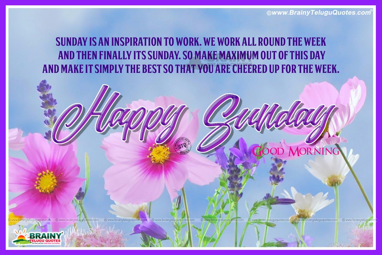 Good Morning Happy Sunday Joyful Quotations in English  BrainyTeluguQuotes.c...