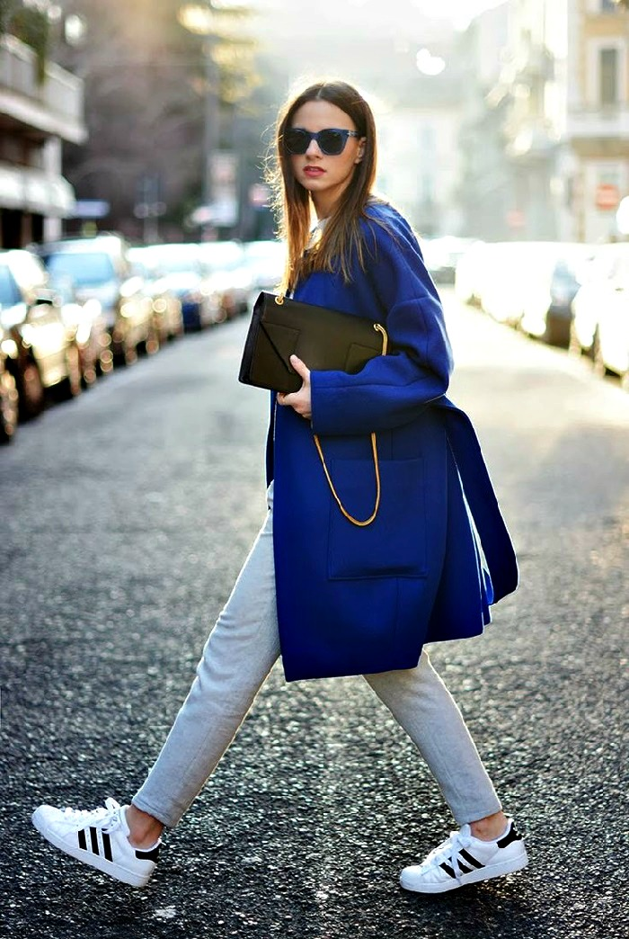 top ten outfits with adidas superstars pair with blue coat for a chic look
