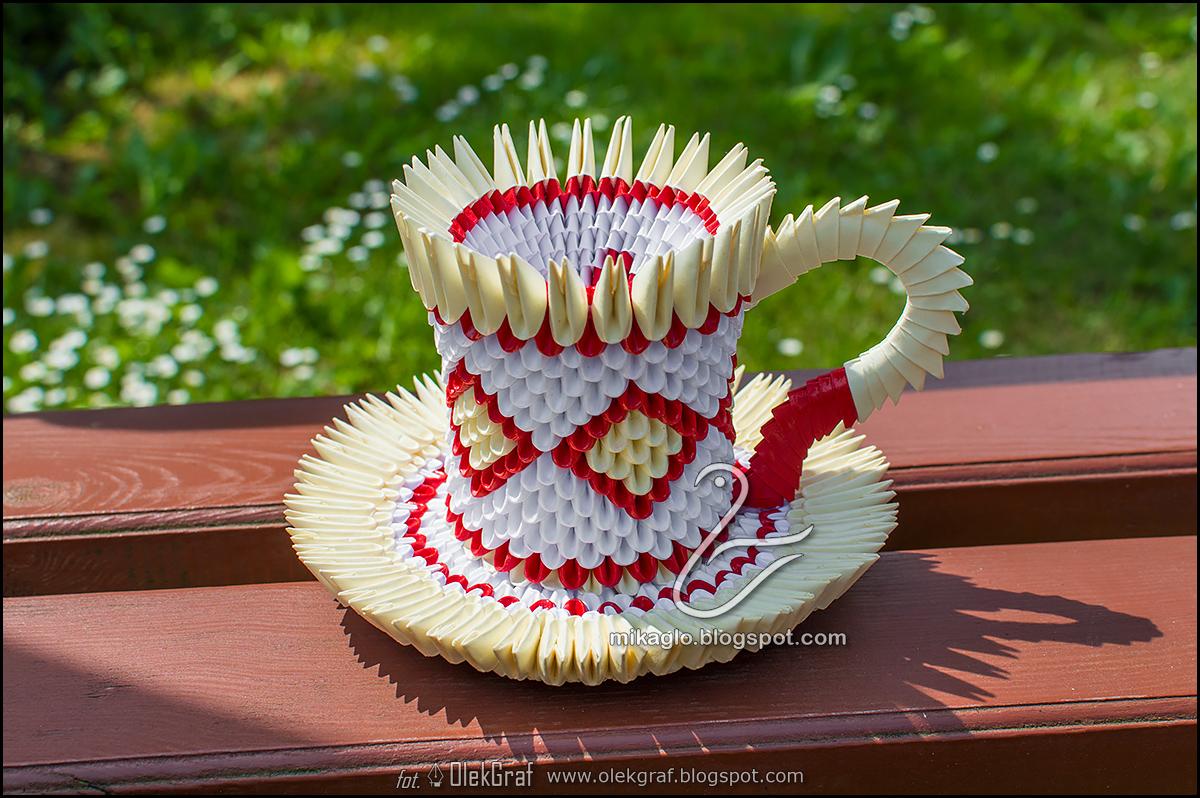 Origami 3d - mikaglo: 442. Filiżanka / 3d origami cup - photo#7