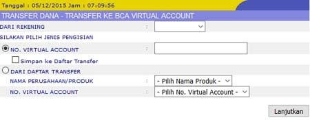 Cara Bayar KlikBCA Transfer Virtual Account