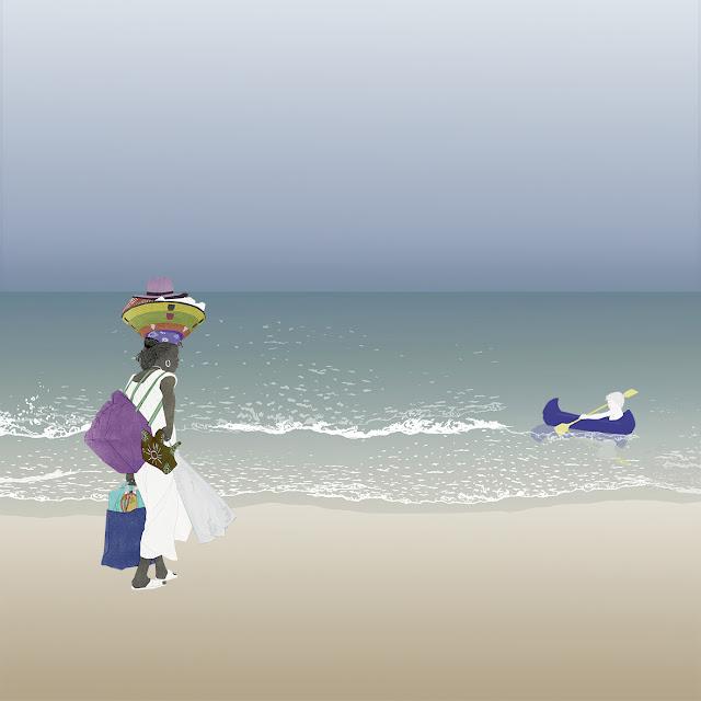 playa, ambulante , vendedora , subsahariana , barquilla , dibujo