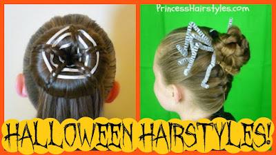 2 spider hairstyles for Halloween. Spider web bun and braided spider.