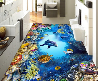 Amazing 3d flooring mural design for modern bathroom