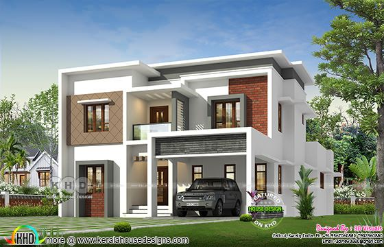 Modern 4 bedroom flat roof house architecture rendering