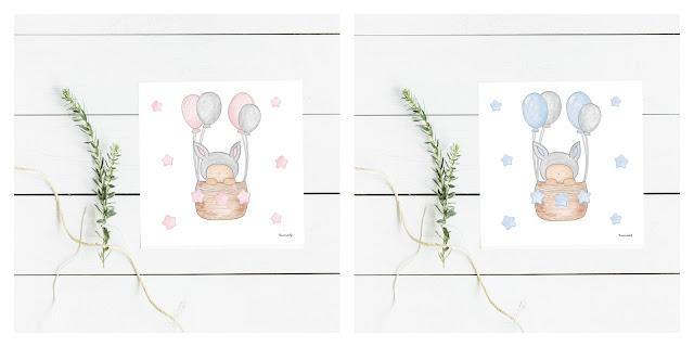 láminas infantiles DECO conejitos globos
