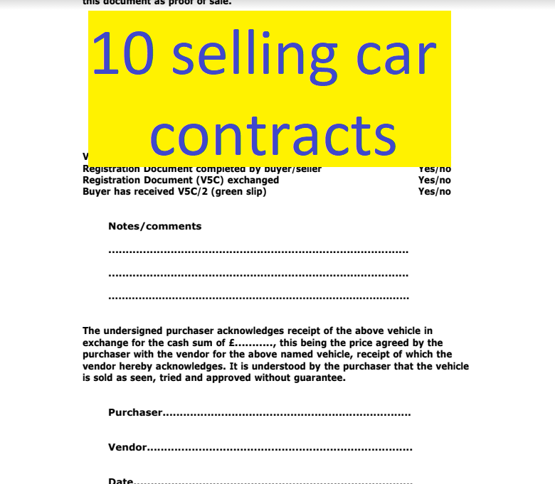10 selling car contract exemples doc and pdf format sample