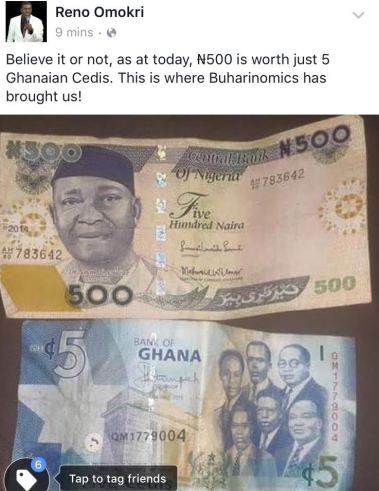Say what? N500 is worth 5 Ghanaian Cedis now?