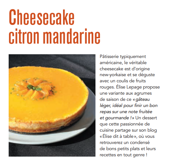 Cheesecake citron mandarine
