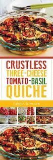 Crustless Three-Cheese Tomato-Basil Quiche found on KalynsKitchen.com