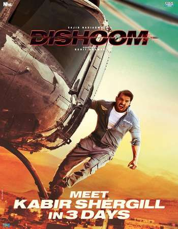 Poster Of Dishoom 2016 Hindi 700MB DVDRip ESubs Watch Online Free Download downloadhub.in