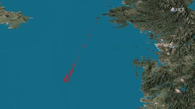 Vị trí những mảnh vỡ còn lại từ vụ rơi tên lửa Unha-3 vào ngày 13/4/2012 (những chấm đỏ), Triều Tiên nằm ở bên phải hình. Hình ảnh: Analytical Graphics, Inc.