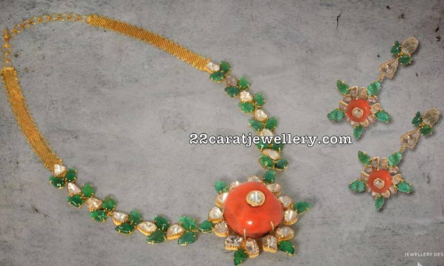 Coral Emerald Necklace by Nikitha Linga