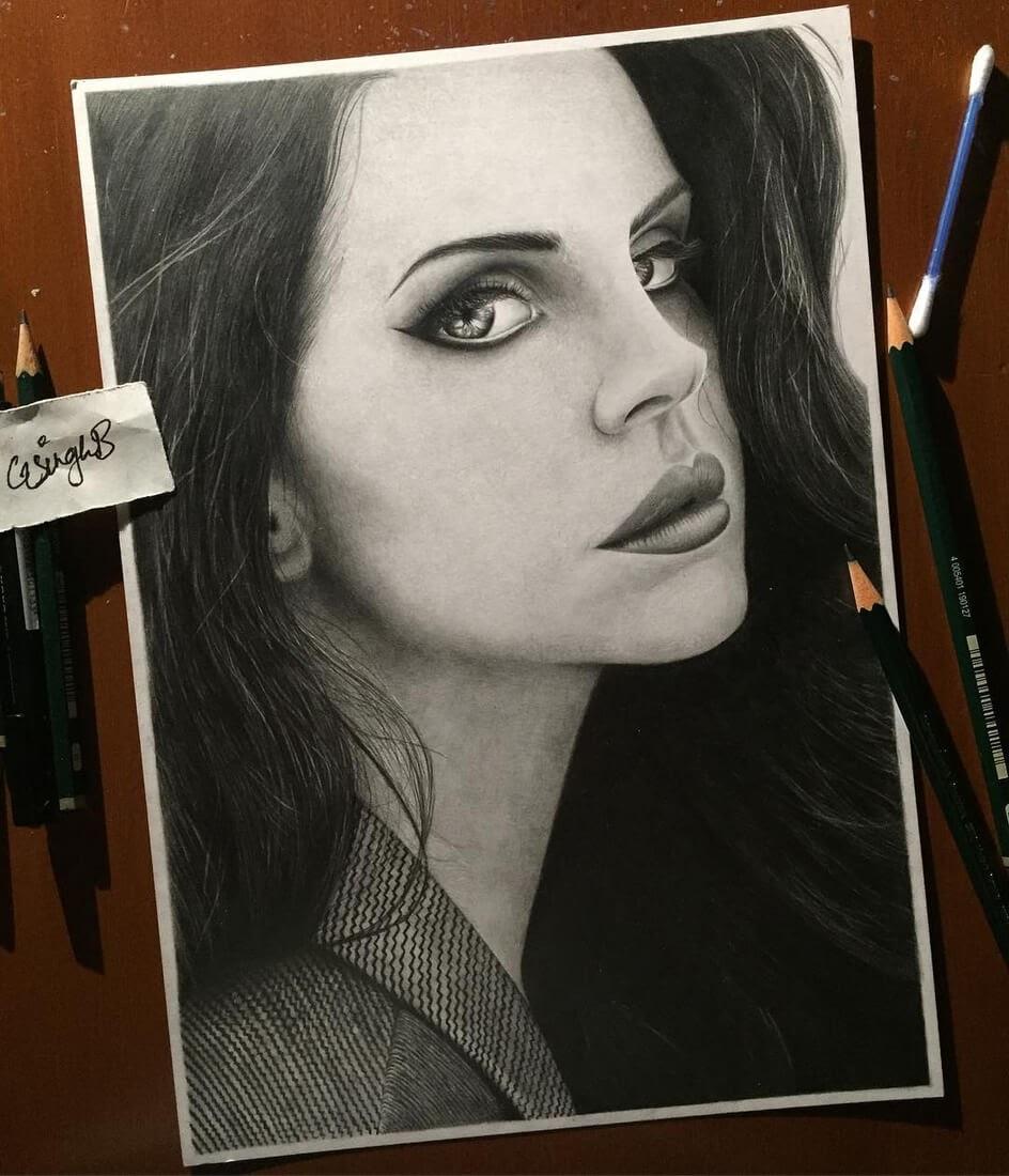 04-Lana-Del-Rey-Gurekbal-Bhachu-Realistic-Celebrity-Portraits-Drawings