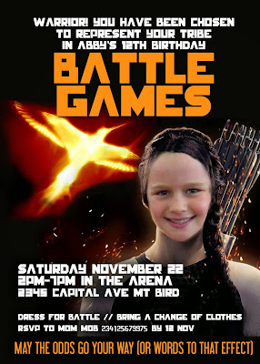 Hunger Games-ish Personalized invitation - girl