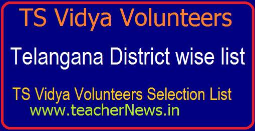 District Wise TS VVs Selection list 2018 | Vidya Volunteers Selection List in Telangana