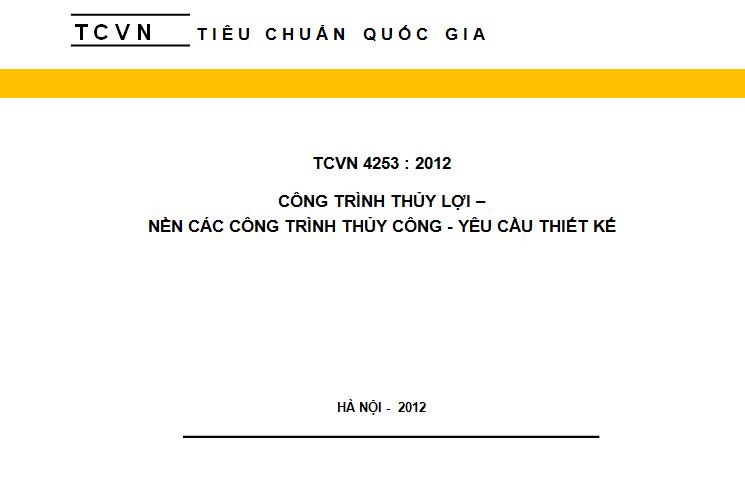 TCVN 4253 2012 Nền các công trình thủy công - Yêu cầu thiết kế