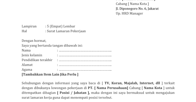 Contoh Resume Kerja Hotel Surat Lamaran Kerja Di Hotel
