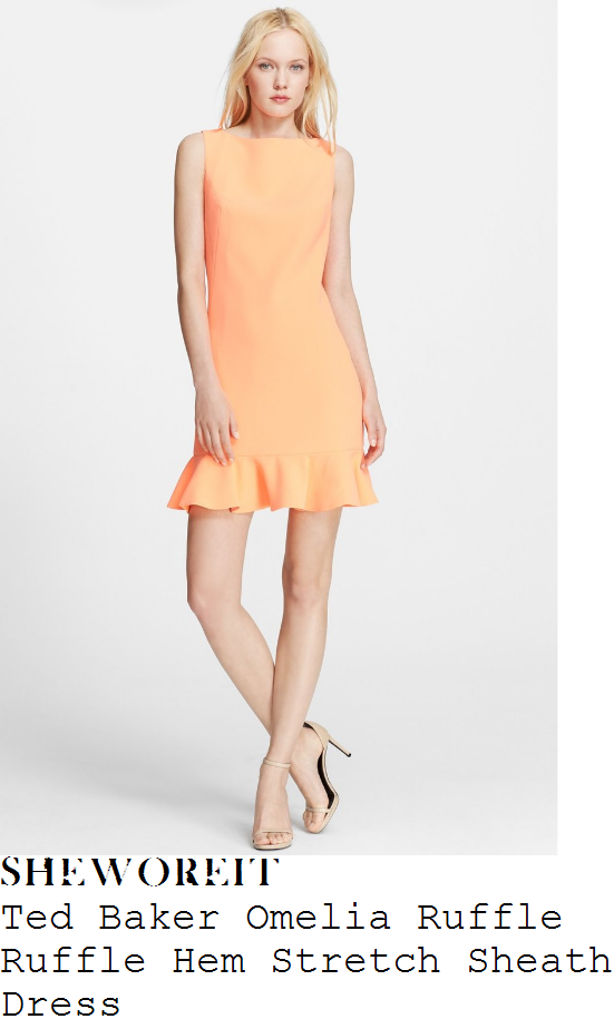 gaby-roslin-ted-baker-omelia-bright-orange-sleeveless-boat-neck-ruffle-frill-hem-detail-tunic-sheath-dress