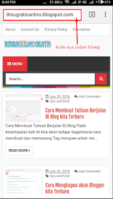 Cara Menghilangkan Kode ?m=1 pada blogger yang tampil pada url smartphone kita ilmugratisanbro.blogspot.com