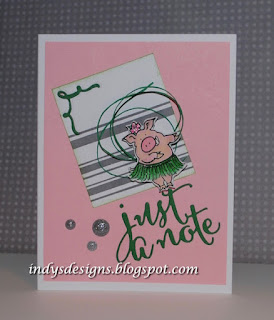 Just a Note by Debbie DRS--Hula Pig & Open Plaid