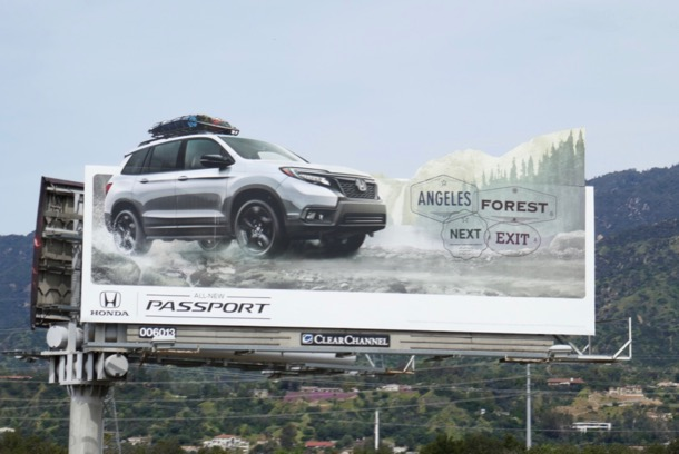 Honda Passport Angeles Forest next exit billboard