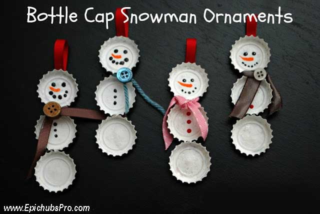 How To Make Bottle Cap Snowman: Diy Christmas Crafts