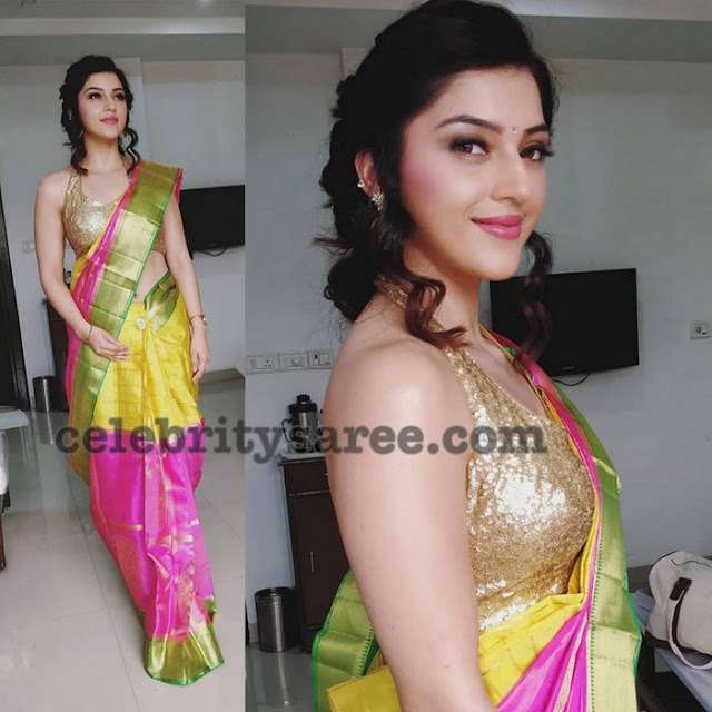 Mehreen Pirzada Dual Color Silk Saree