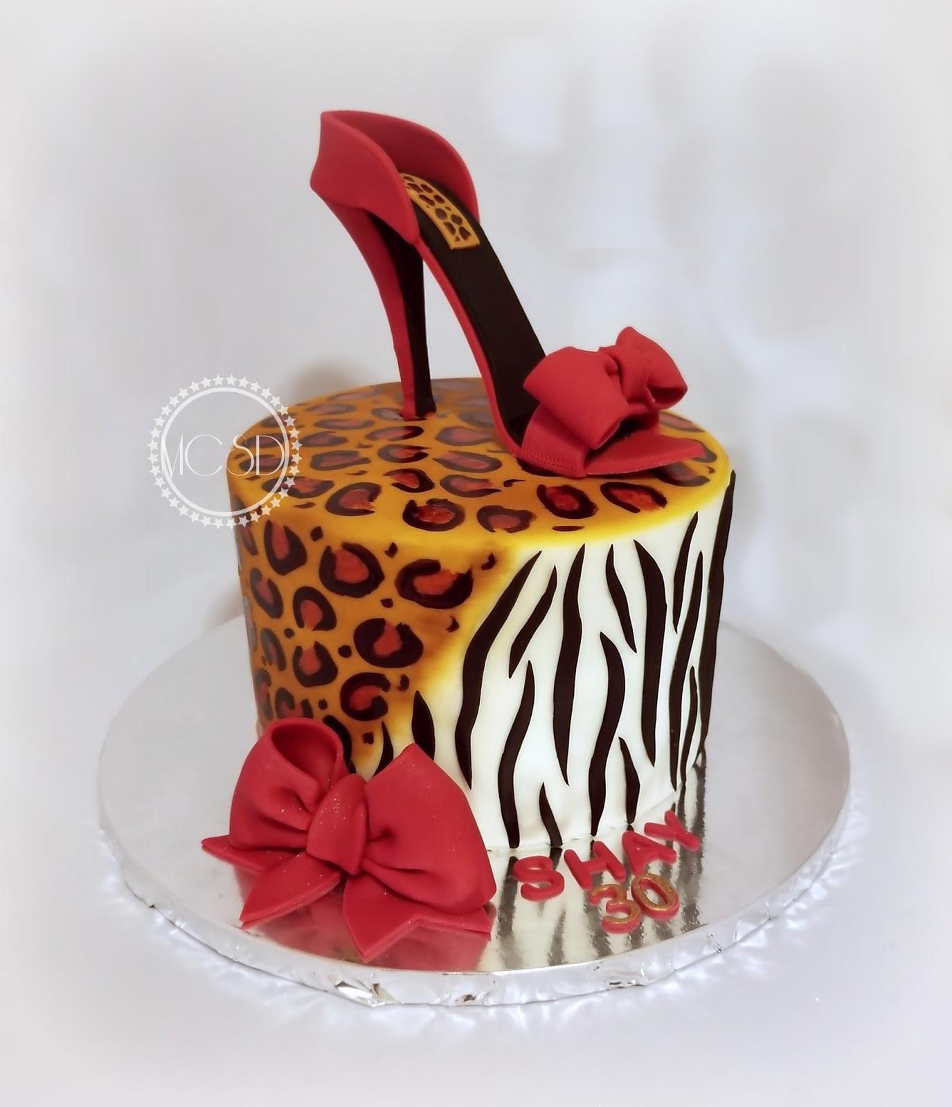 Cakesbyzana Leopard And Zebra Print Birthday Cake With High Heel Shoe