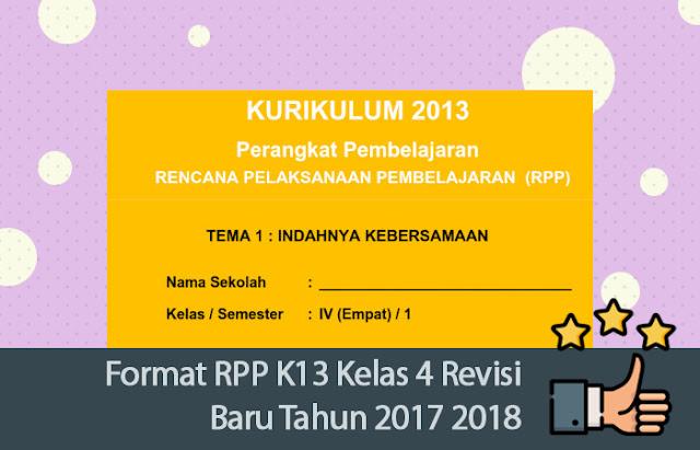 RPP K13 Kelas 4 Revisi Baru