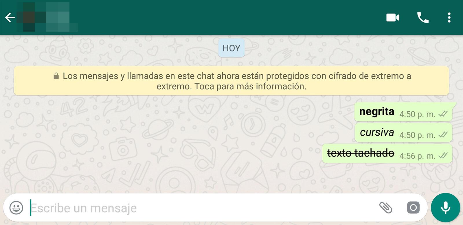 Los diversos formatos de texto en WhatsApp