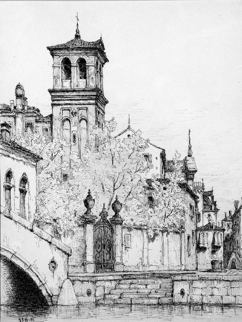 06-Chiesa-e-Rio-San-Felice-1883-Andrew-F-Bunner-Venice-Urban-Architectural-Drawings-from-the-1800s-www-designstack-co