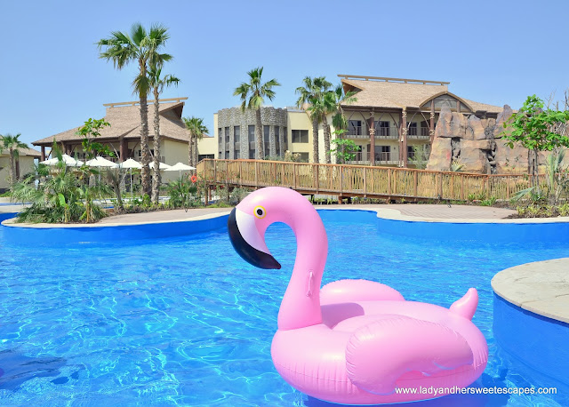 flamingo floater in Lapita Hotel pool