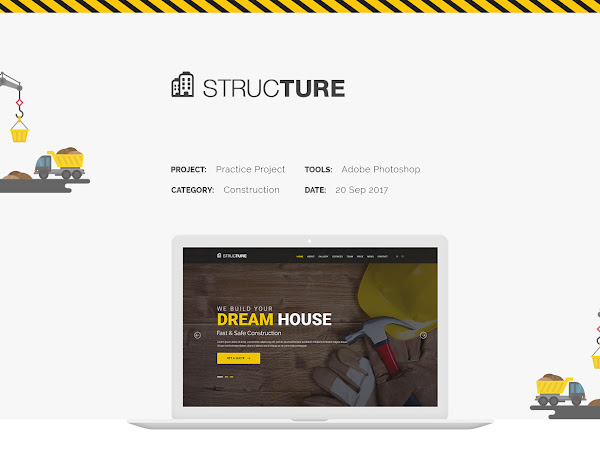 Download Structure Construction Web PSD Template Free