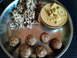 Pearl millet veg dumplings, Banana flower poriyal, Veg kurma