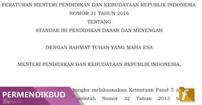 PDF Permendikbud No 21 Thn 2016 Standar Isi Pendidikan Dasar dan Menengah