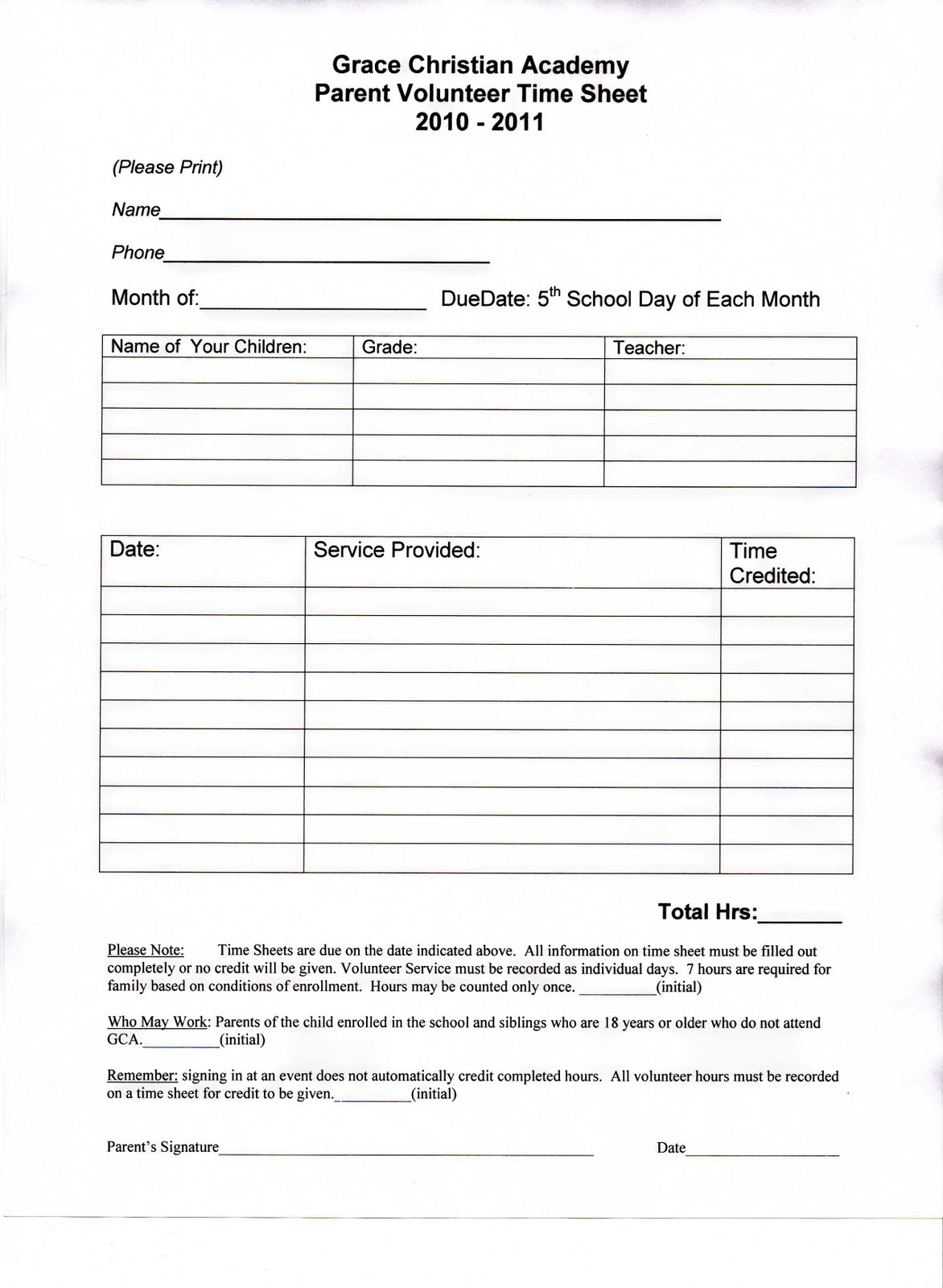 Grace Christian Academy Parent Volunteer Hours Amp Form