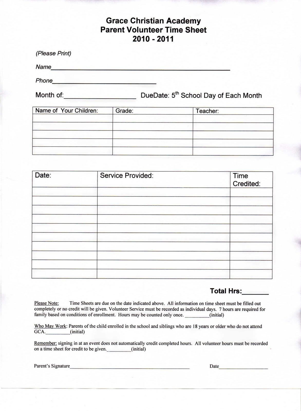 Grace Christian Academy Parent Volunteer Hours Amp Form