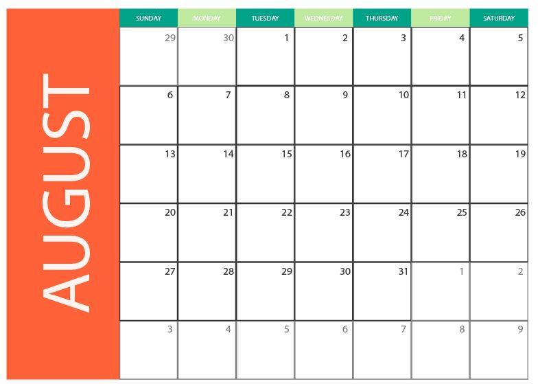 2017 August Blank calendar with free vector to download