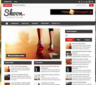 Shoon Clean, Simple, Responsive, Minimalist Black, White color, News portal, Magazine, personal blog design list style Ads Ready SEO friendly Right Sidebar 3 Columns full page 4 Columns Footer Blogger Template Free download