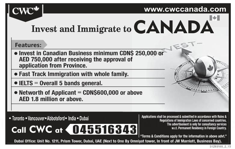 Invest and Immigrate to CANADA Khaleej Times-UAE-2710110- Jobs in Abroad